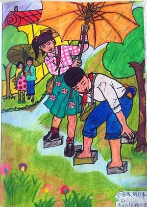 雨中的风景儿童作品